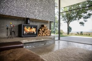 wood burning stove in modern room setting