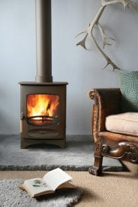wood burning stove in a rustic setting
