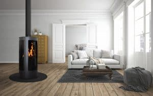 Oak Stoves beautiful wooden floored living room with oak stove burning in the foreground